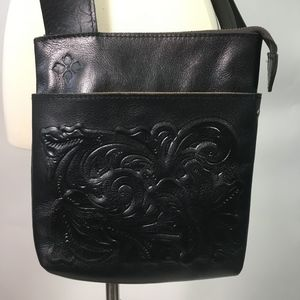 Patricia Nash Black Italian Leather Crossbody Bag